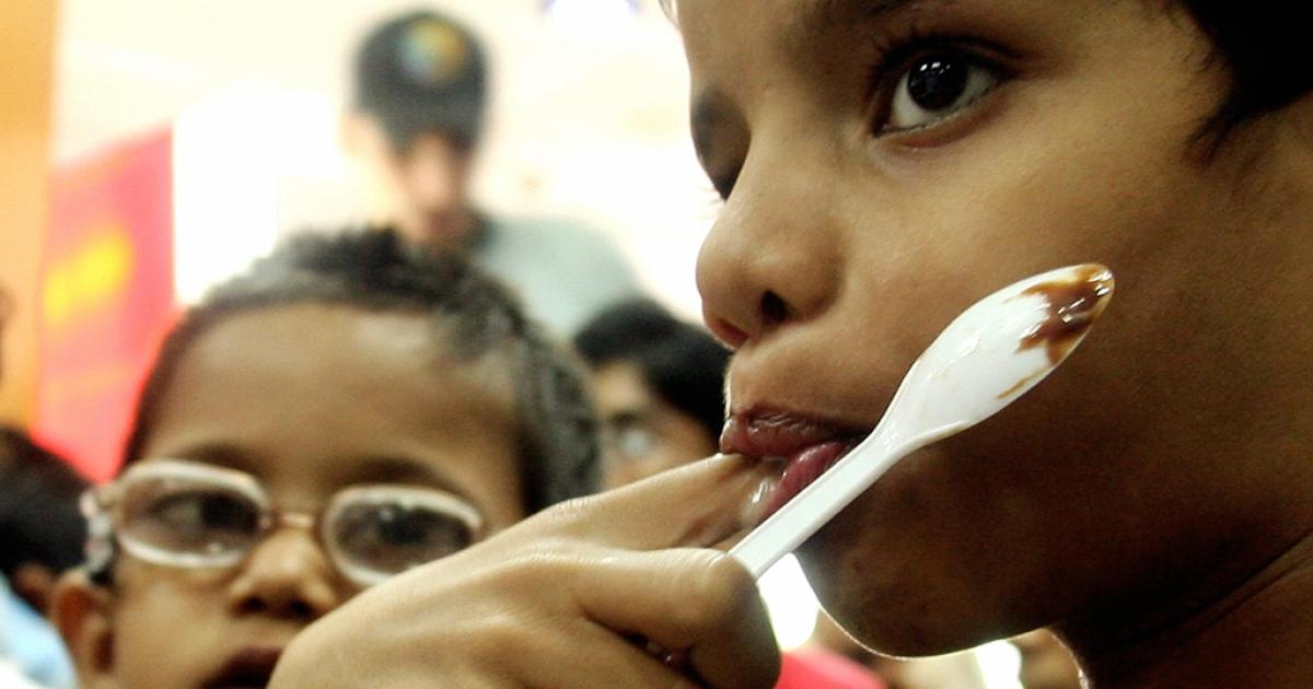 Children at a McDonald's in New Delhi.</p>