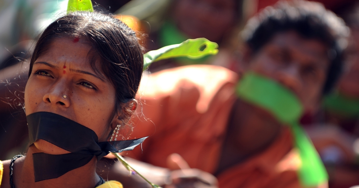 Indian adivasis-tribals during a sit-in protest on Human Rights Day in Mumbai on Dec. 10, 2010.</p>