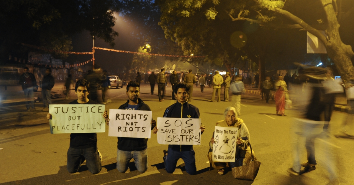 Protesters on Dec. 24, 2012 in New Delhi, India.</p>