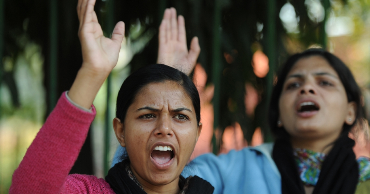 Protest following the gang-rape of a student in New Delhi on Dec. 18, 2012.</p>