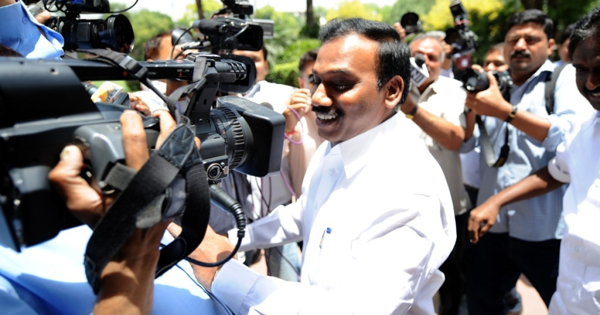 Former telecom minister A. Raja arrives at Parliament in New Delhi on May 16, 2012. A day after he walked out of Tihar Jail after securing bail in the 2G spectrum scam, A Raja went to Parliament. The former telecom minister was in jail for over 15 months after being arrested in February last year for his role in the 2G scam.</p>