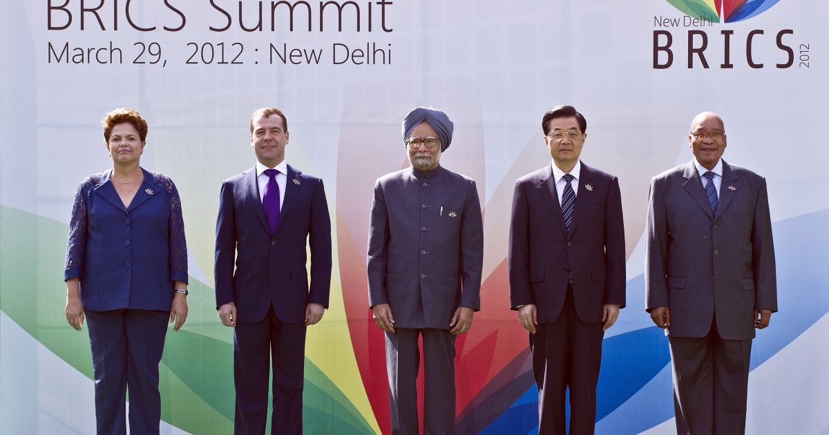 Heads of the BRICS countries (L to R) President Dilma Rousseff of Brazil, Russian President Dimitry Medvedev, Indian Prime Minister Manmohan Singh, Chinese President Hu Jintao and President Jacob Zuma of South Africa pose prior to the BRICS summit in New Delhi on March 29, 2012.</p>