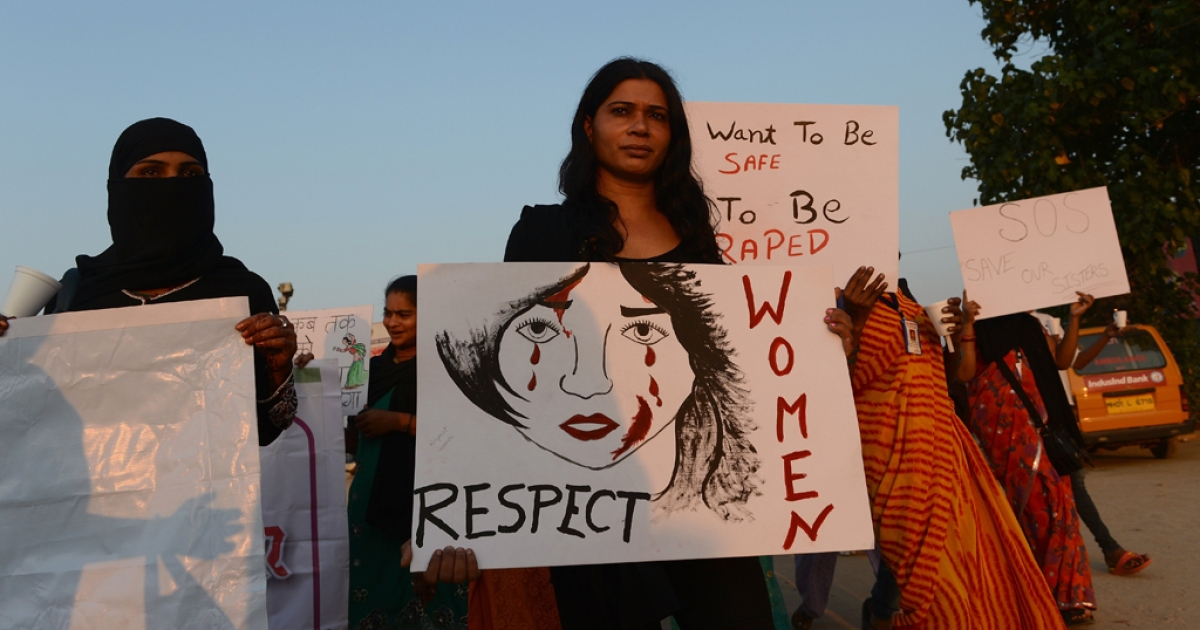 Indian members of NGO 'Aastha' hold placards as they march during a protest in Mumbai on December 27, 2012, for better safety for women following the rape of a student in the Indian capital. Protests across India over the last week against sex crimes have denounced the police and government, with the largest in New Delhi at the weekend prompting officers to cordon off areas around government buildings. One policeman was killed and more than 100 people injured in the violence.</p>