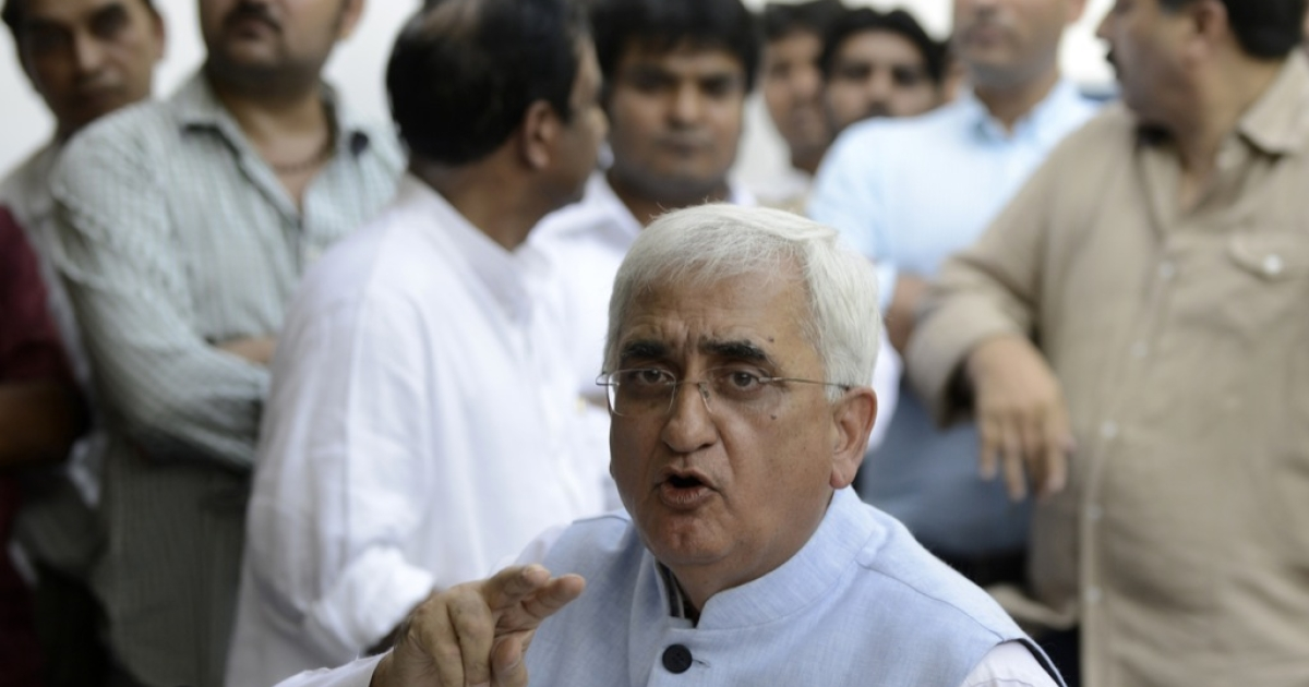 India's federal minister Salman Khurshid addressing a press conference in New Delhi on October 14, 2012.</p>