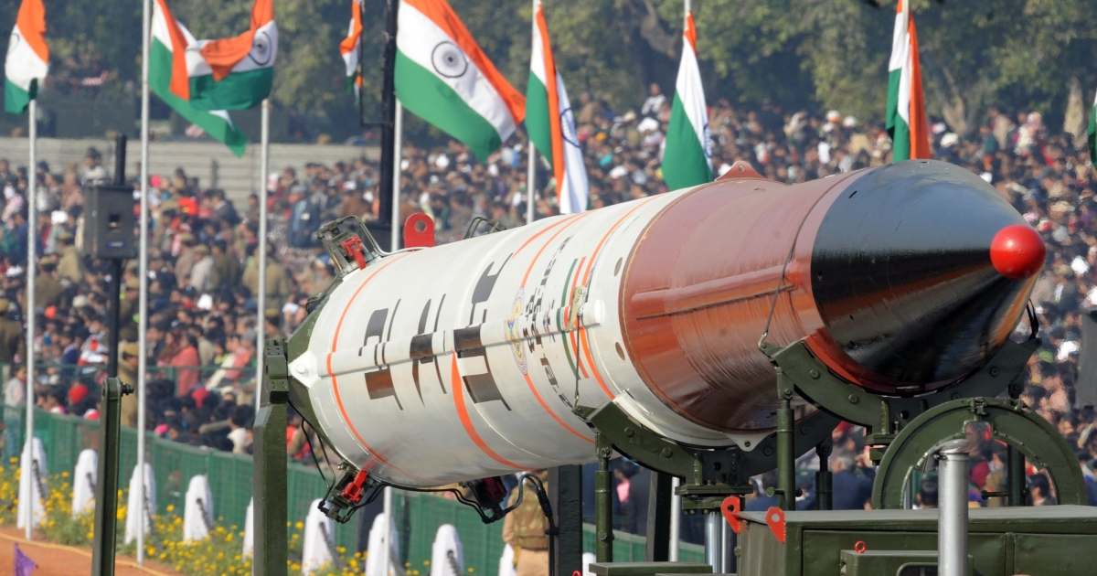A previous iteration, the Agni IV, is displayed at the Republic Day parade in New Delhi on Jan 26.</p>