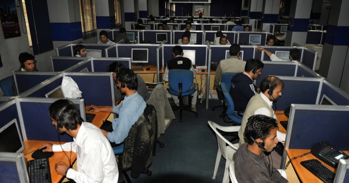 Kashmiri employees working at a call centre in Srinagar. This call centre works 24/7 operations at Access Infrastructure which serves clients of one of India's largest cell phone networks.</p>