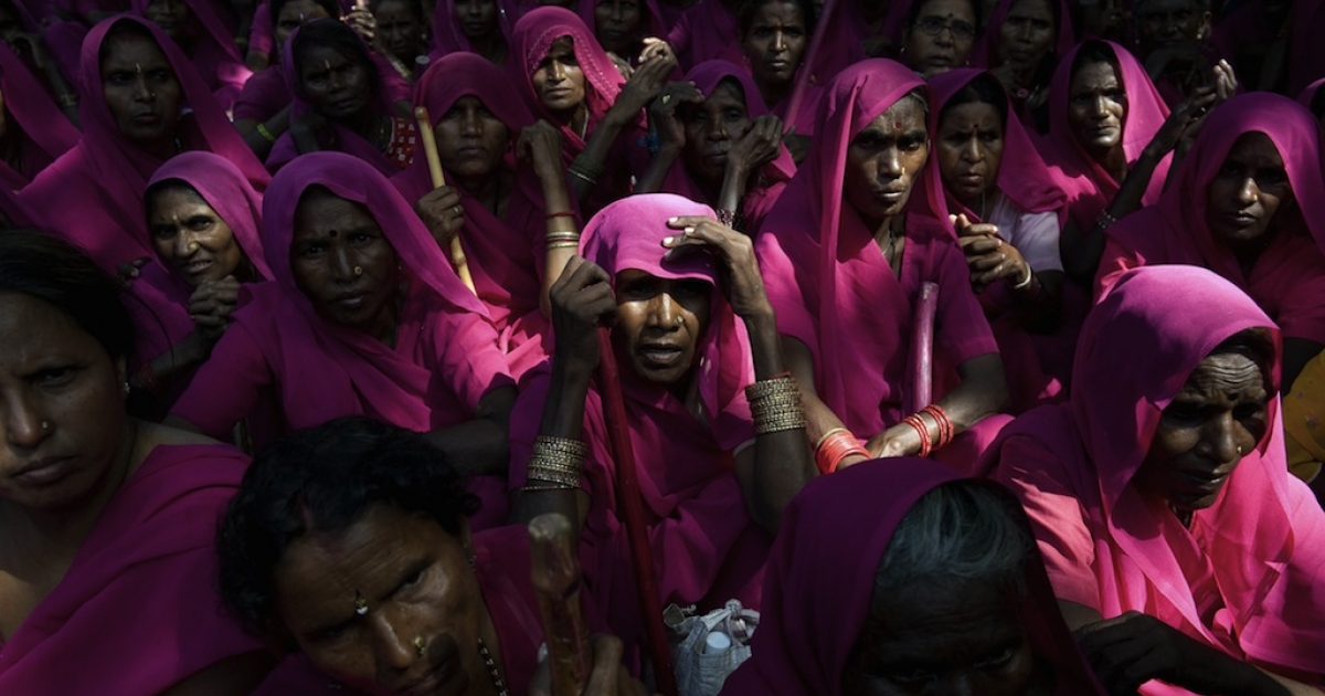 The Gulabi Gang (Pink Gang), a group of women in rural India who strive for social justice, don pink saris and fight for women's rights, against corruption, and for the poor. Leader Sampat Devi began the vigilante group in 2006, and her message is spreading in the face of India's rape culture problem.</p>