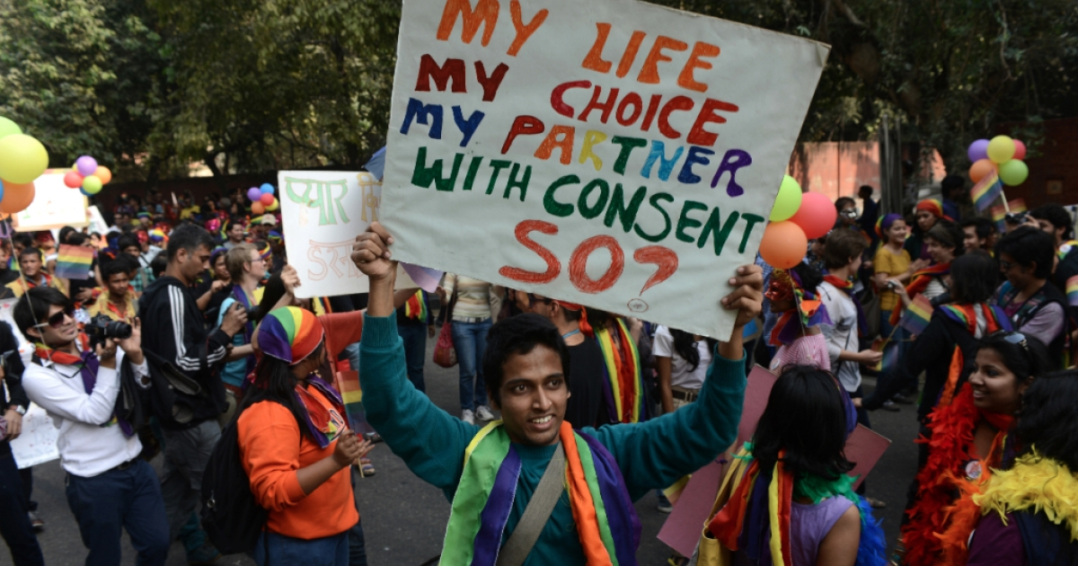 Members of India's lesbian, gay, bisexual, transgender community and supporters attend the 5th Delhi Queer Pride parade in New Delhi on November 25, 2012. Marching in solidarity and in celebration of their diversity, the LGBT community demanded equal legal, social and medical rights.</p>