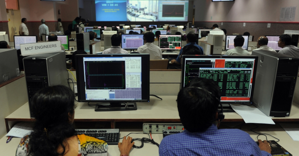 Indian scientists watch displays as they sit in The Satellite Control Centre (SCC) of The Indian Space Research Organisation's (ISRO) Master Control Facility (MCF) in the district of Hassan some 210kms from Bangalore on July 21, 2011, as they monitor the deployment of India's communication satellite, GSAT-12 in geo-synchronous orbit.</p>