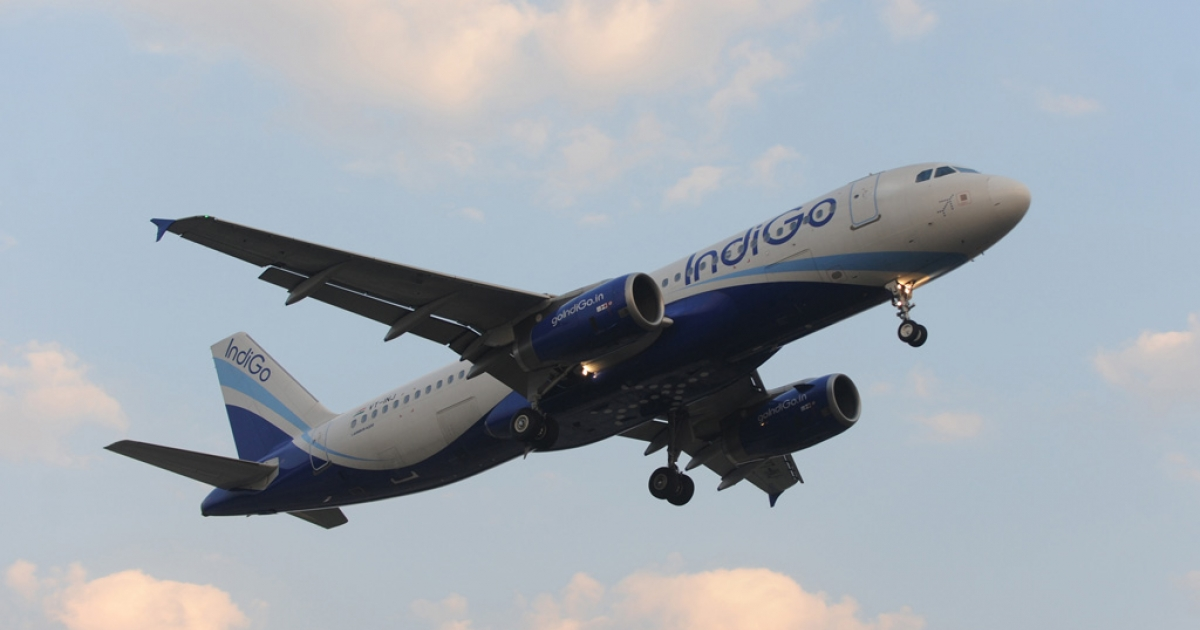 An Indigo Airlines plane approaches Ahmedabad airport on Dec. 27, 2010.</p>