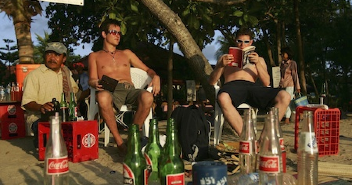 British tourists enjoy a beer at sunset on October 3, 2005 in Bali, Indonesia.</p>