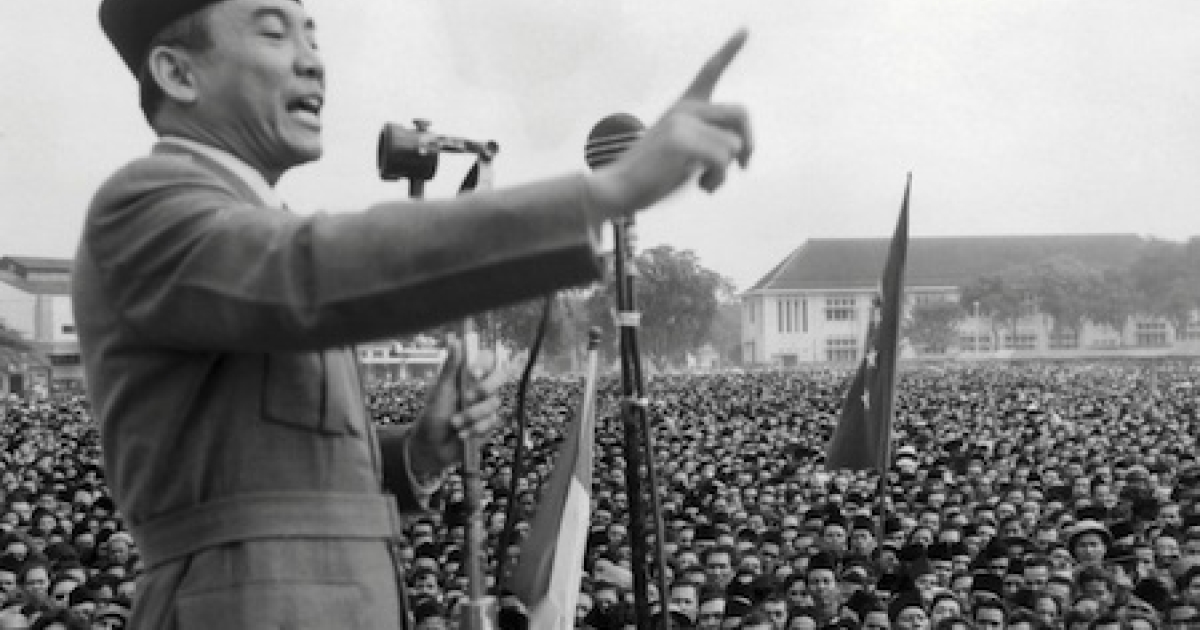 Leader of the Indonesian National Party Achmed Sukarno (1902-70) demanding independence from the Netherlands in an undated photo. Indonesian independence from Dutch colonial rule was achieved in 1949 after a bloody struggle.</p>