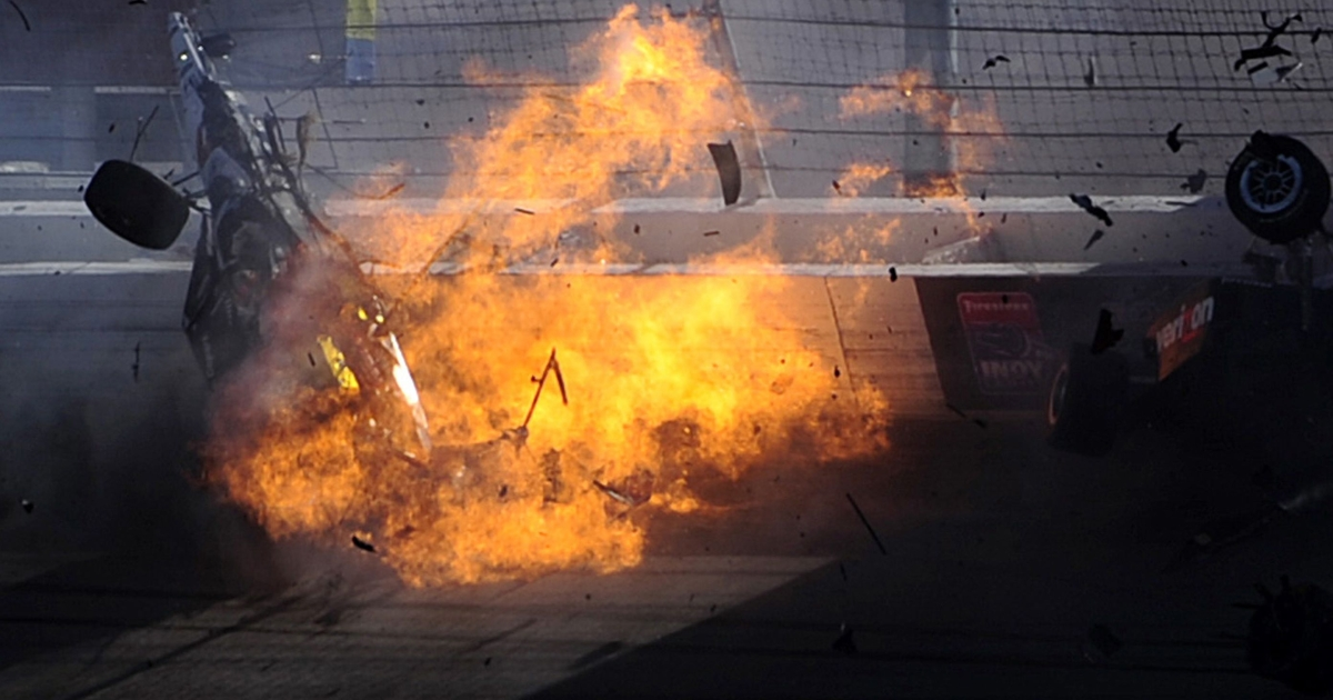 The car of Dan Wheldon bursts into flames in a 15 car pile up during the Las Vegas Indy 300 part of the IZOD IndyCar World Championships at the Las Vegas Motor Speedway in Las Vegas, Nevada.</p>