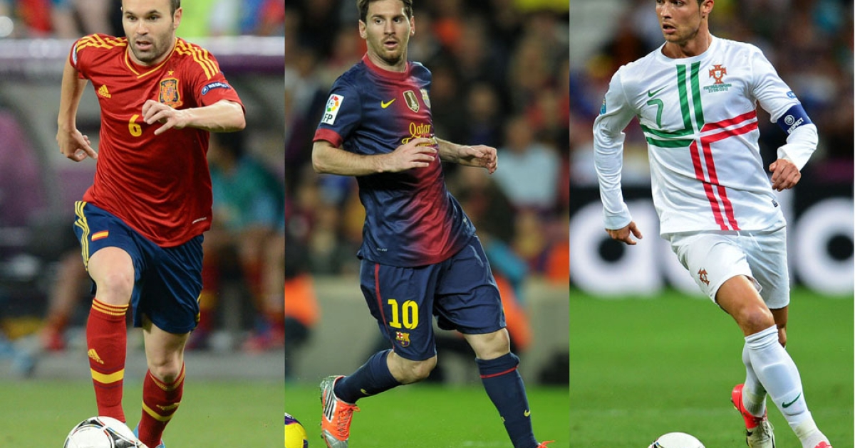 From left, Spain's Andres Iniesta, Argentinian forward Lionel Messi and Portuguese midfielder Cristiano Ronaldo are the three finalists for the 2012 FIFA Ballon d'Or award, which will be presented at a ceremony in Zurich on January 7, 2013.</p>