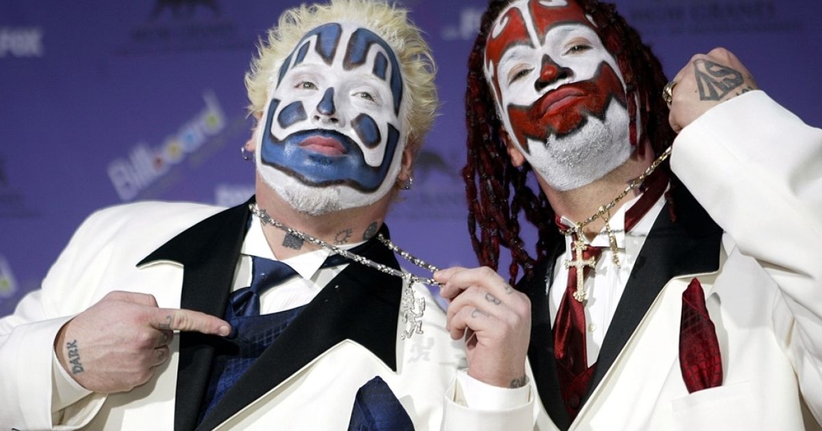 The Insane Clown Posse attends the 2003 Billboard Music Awards at the MGM Grand Garden Arena December 10, 2003 in Las Vegas, Nevada.</p>