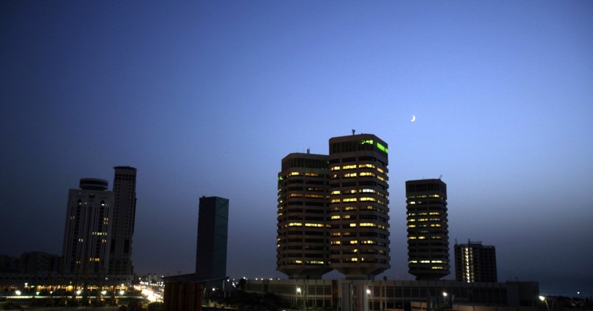 A picture shows Tripoli's skyline late on September 1, 2011.</p>