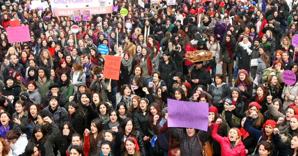 Turkish women shout slogans during a protest on the International Women's Day in Ankara on, March 8, 2012.</p>