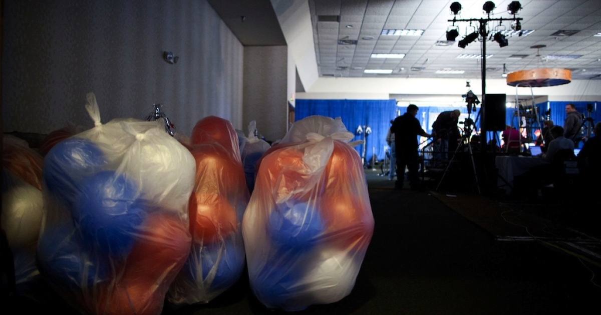 Balloons kept in plastic bags sit waiting for celebration at the Stoney Creek Inn, where Republican presidential hopeful and former U.S. Sen. Rick Santorum (R-PA) will be for the results of the 2012 Iowa Caucuses, on January 3, 2012 in Johnston, Iowa. The GOP presidential contenders are crisscrossing Iowa in the final stretch of campaigning in the state before tonight's caucus, the first test the candidates must face before becoming the Republican presidential nominee.</p>