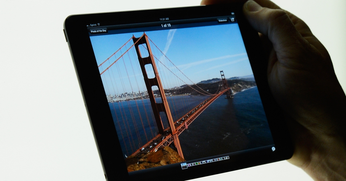 The new iPad mini is displayed after its unveiling at the Apple special event at the historic California Theater on October 23, 2012 in San Jose, California. The iPad mini is Apple's smaller 7.9 inch version of the iPad tablet.</p>