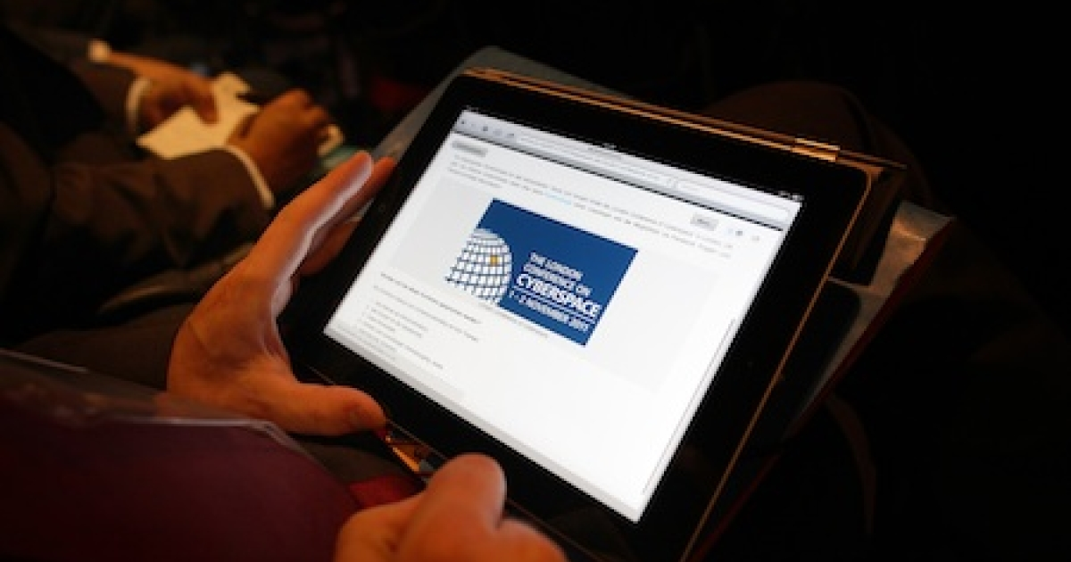 An iPad used at a cyberspace conference in London.</p>