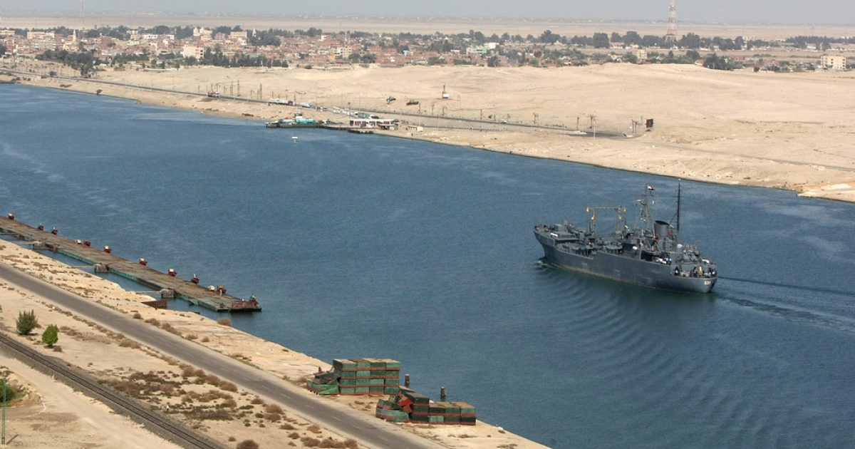 An Egyptian patrol ship navigates the Suez Canal between Port Said and Ismailia, about 100 kms northeast of Cairo.</p>