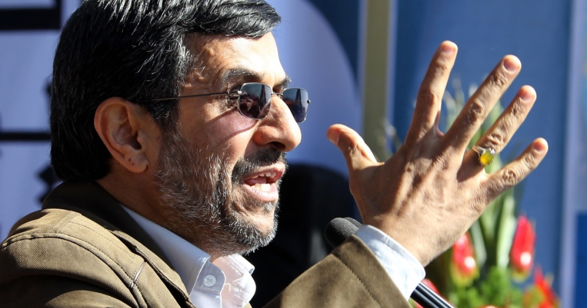 Iran President Mahmoud Ahmadinejad delivers a speech in Tehran on Feb. 11, 2012.</p>