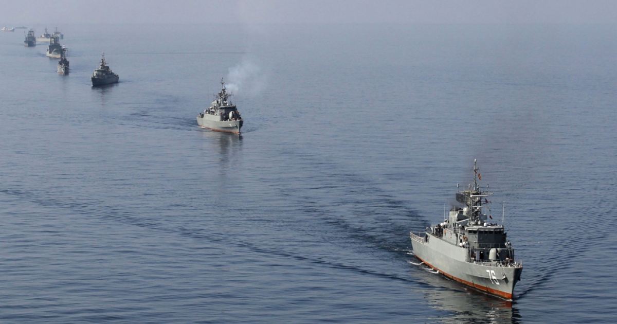 Iranian Navy boats take part in maneuvers during navy exercises in the Strait of Hormuz this month. Today, the U.S. navy rescued 13 Iranian sailors from pirates.</p>