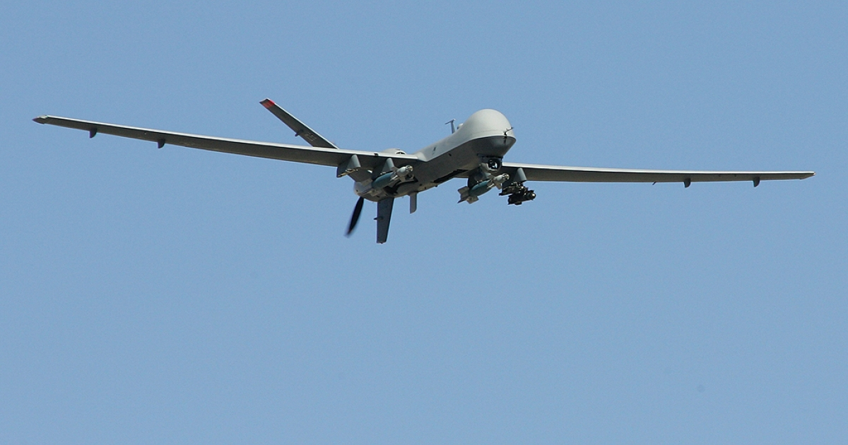 An MQ-9 Reaper flies by on a training mission August 8, 2007 at Creech Air Force Base in Indian Springs, Nevada. The Reaper is the Air Force's first
