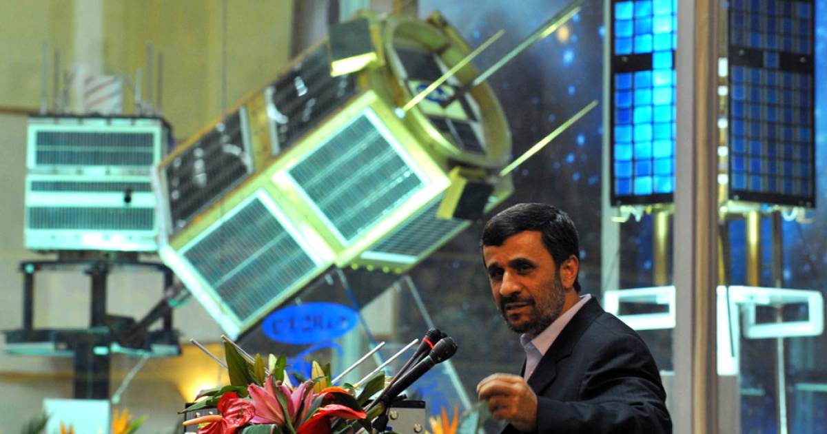 Iranian President Mahmoud Ahmadinejad speaks during the unveiling ceremony of new satellite rocket in Tehran on February 3, 2010.</p>
