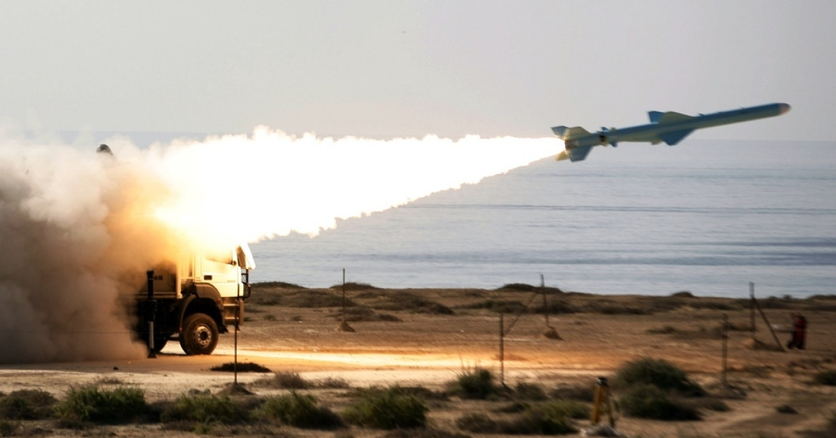 Iran's 120-mile range Qader ground-to-sea missile is launched on the last day of navy war games near the Strait of Hormuz in southern Iran on January 2, 2012. The war games took place at a time of increased tensions between Iran and the United States and other Western powers.</p>
