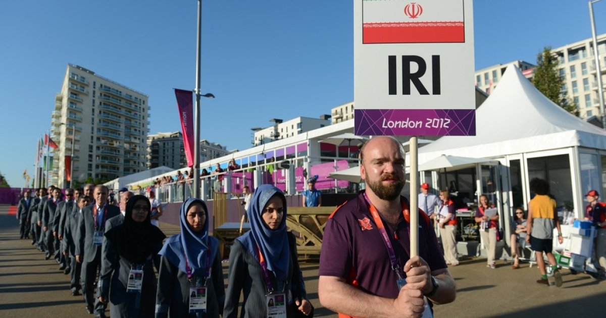 Members of the Iran Olympic delegation arrive at the Athletes' Village at the Olympic Park in London, England on July 23, 2012.</p>