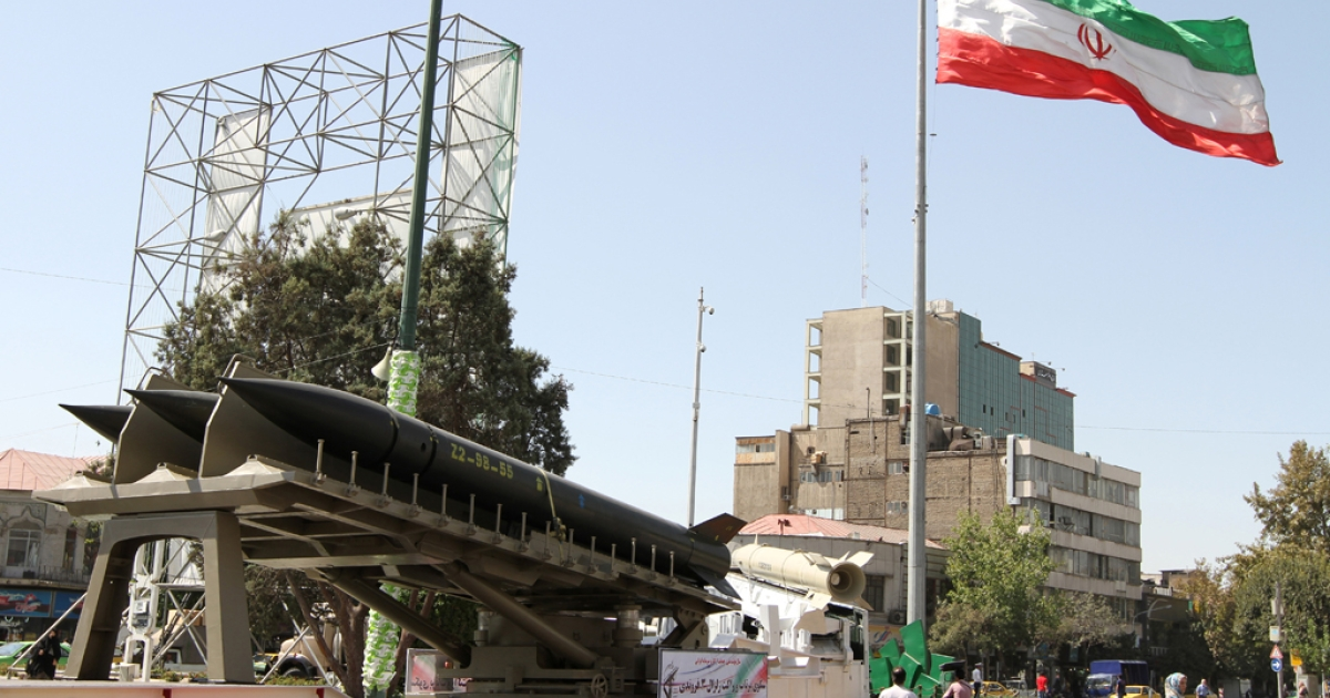 Iranian Zelzal missiles are displayed on September 23, 2012 in a square south of Tehran to mark the
