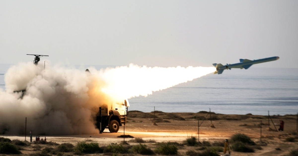 Iran's 200-kilometre (120-mile) range Qader (Ghader) ground-to-sea missile is launched during war games near the Strait of Hormuz on Jan. 2, 2012.</p>
