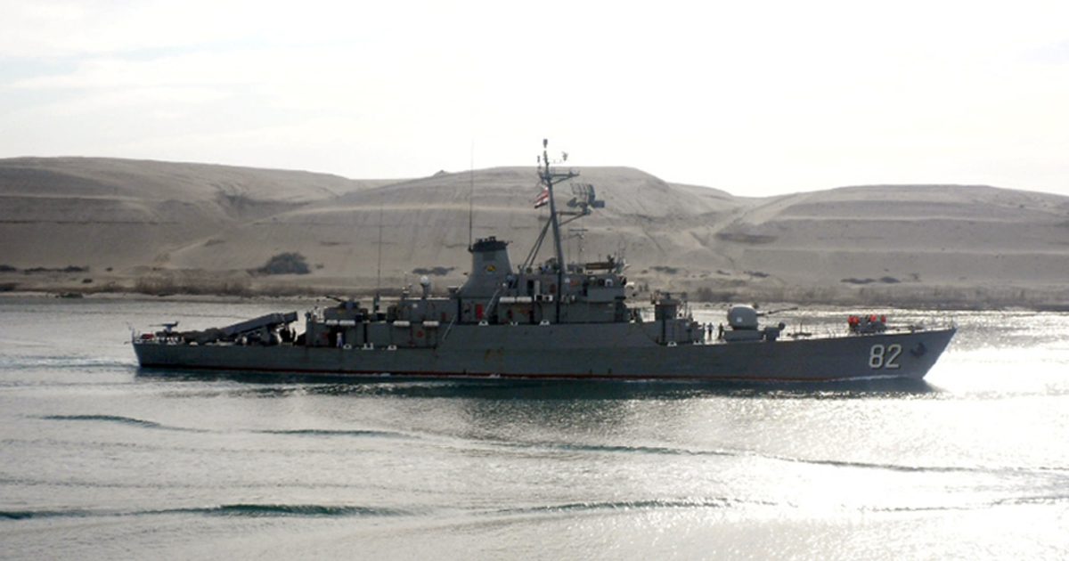 Iranian corvette class vessel 'Shahid Naqdi', sent by Tehran to the Mediterranean to help 'train the Syrian navy.</p>