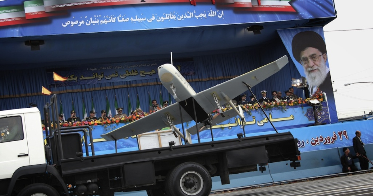 An Iranian-made drone is paraded during the Army Day celebrations in Tehran in 2010. The new Shahed-129 unmanned aerial vehicle doubles the range of this one, and can hit just about anywhere in the Middle East – including Israel.</p>