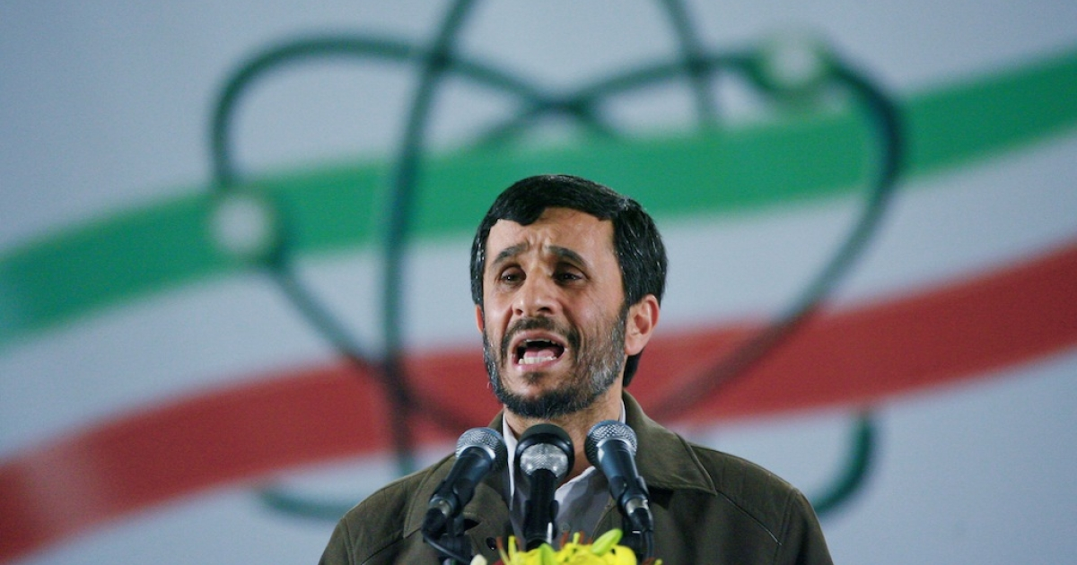 Iranian president Mahmoud Ahmadinejad speaks at a ceremony at the Natanz nuclear enrichment facility in Iran, on April 9, 2007.</p>