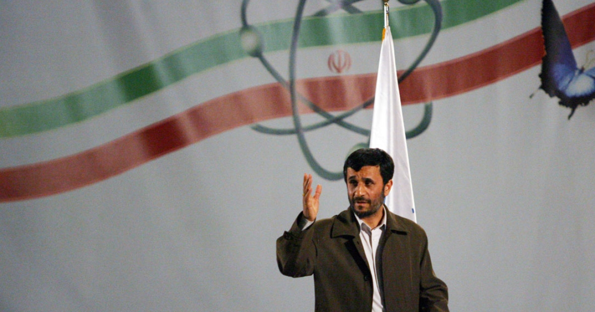 Iran's president Mahmoud Ahmadinejad speaks at a ceremony at the Natanz nuclear enrichment facility on April 2007.</p>