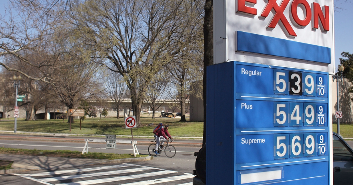 A sign shows gas prices over five dollars a gallon for all three grades at an EXXON service station on March 13, 2012 in Washington, DC. According to AAA the average price of gas has climbed three tenths of a cent nationwide as a result of high oil prices and tensions tied to Iran's nuclear program.</p>