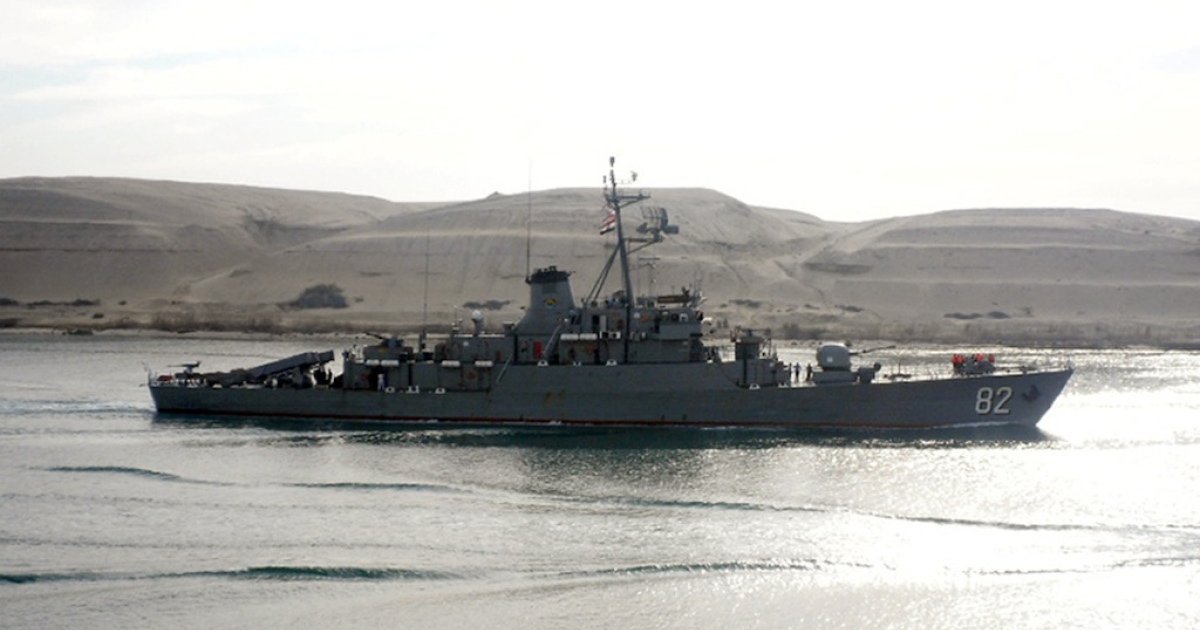 Iranian corvette class vessel 'Shahid Naqdi', sent by Tehran to the Mediterranean to help 'train the Syrian navy', enters the Suez Canal early on February 21, 2012, on its way back to Iran. AFP PHOTO/STRINGER</p>