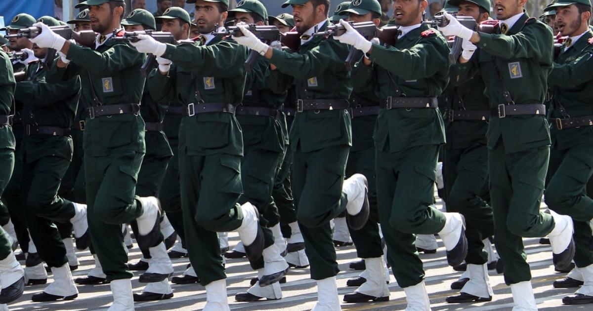 Iranian Revolutionary Guards on parade in Tehran.</p>