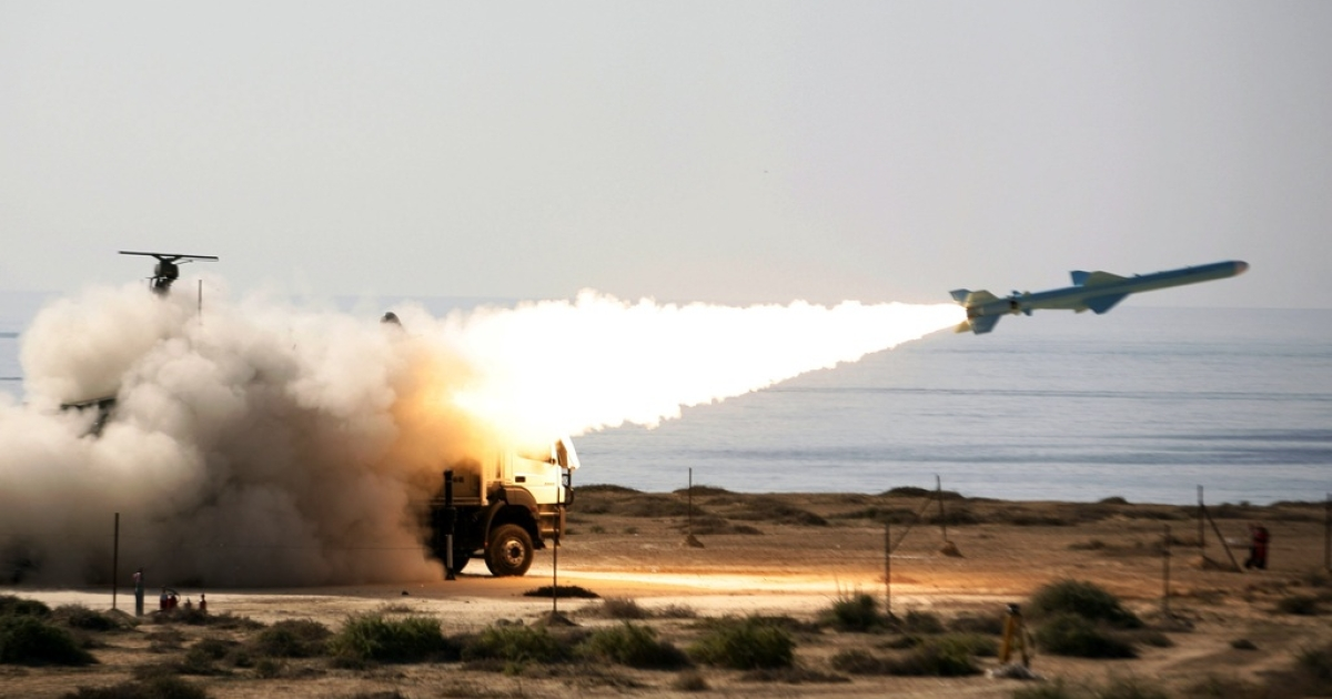 An Iranian Qader (Ghader) ground-to-sea missile is launched on the last day of navy war games near the Strait of Hormuz in early January.  On Jan. 23, 2012, the European Union enacted tough sanctions against Iran; earlier, Tehran had threatened to close down the waterway in retaliation against an oil embargo.</p>