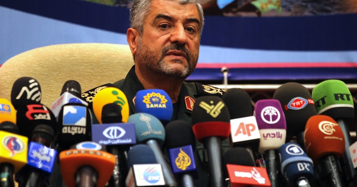 Iranian Revolutionary Guards commander Brigadier General Mohammad Ali Jafari holds a press conference in Tehran on September 16, 2012. Jafari said members of his elite special operations unit, the Quds Force, are present in Syria and Lebanon but only to provide 'counsel.'</p>