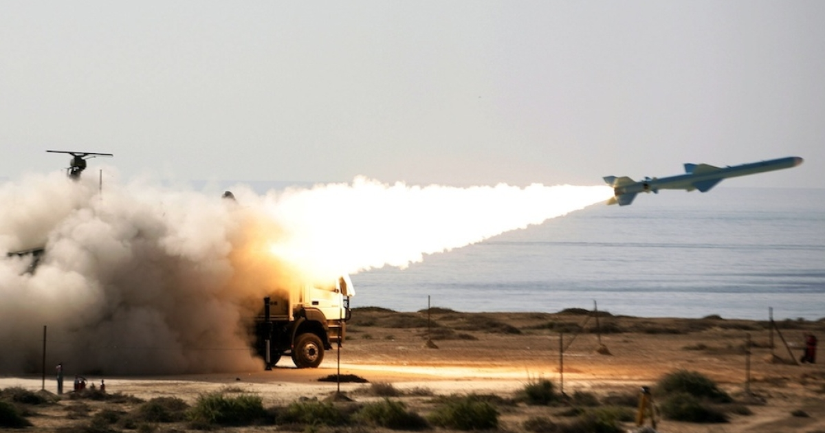An Iranian ground-to-sea missile launched during navy war games near the Strait of Hormuz last month.</p>
