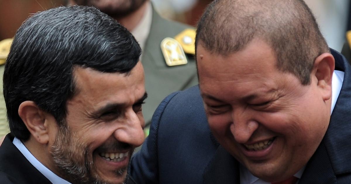 Good times: Ahmadinejad and Chavez.</p>