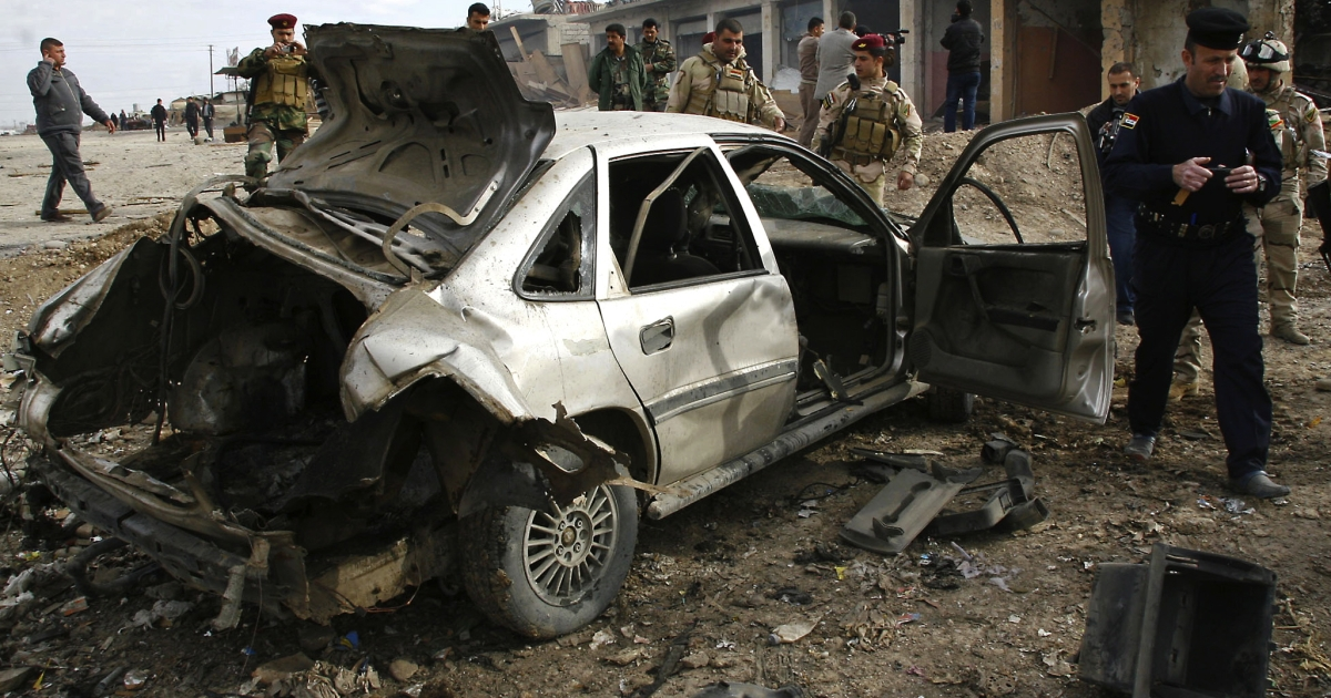 Two car bombs set off in Iraq killed at least 11 people.</p>