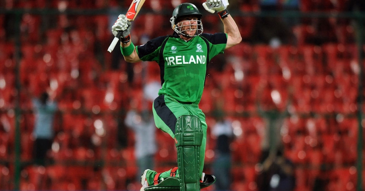Ireland's John Mooney celebrates after Ireland beat England in a Cricket World Cup match in Bangalore, India on March 2, 2011.</p>