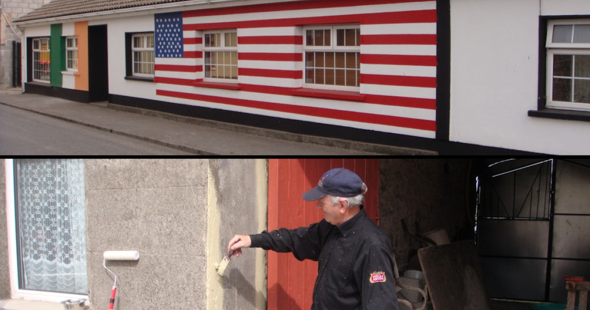 Top: Jason Austin transformed the front of his cottage in Monegall, Ireland into an American flag in preparation for US President Barack Obama's visit in May 2011. Bottom: Ned McCormack spruces up his house in Monegall, where Obama's great-great-great-grandfather lived.</p>