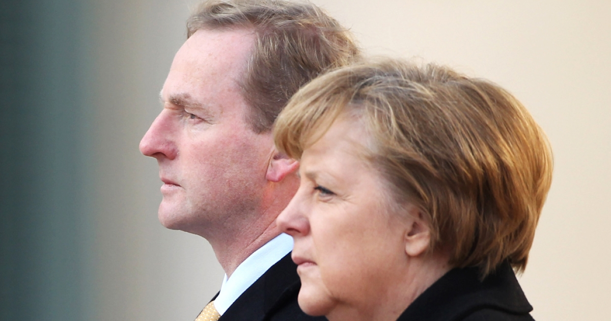 Irish Prime Minister (Taoiseach) Enda Kenny (L) and German Chancellor Angela Merkel (R). The latest polls indicate that the Irish will approve the austerity plan, bucking the recent voting trend in Greece, France and even Germany. But that doesn't mean that the Irish are enthusiastic adherents of Merkel's belt-tightening fixation.</p>