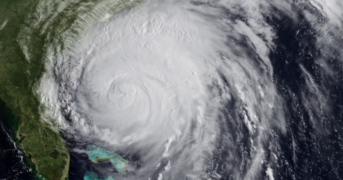 In this handout image provided by NOAA, Hurricane Irene churns of the coast of the Carolinas August 26, 2011. Now a Category 2 storm, Irene has started to lash the eastern coast of the U.S. with wind gusts of up to 125 miles per hour.</p>
