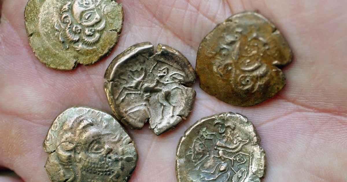 A massive hoard of coins from the Iron Age, similar to these, were found by two metal detector enthusiasts in Jersey after a search that spanned 30 years.</p>